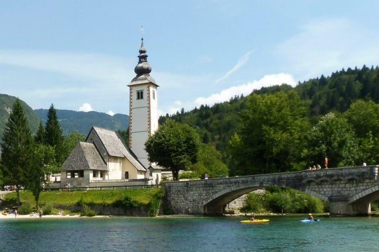 The church at Lake Bohinj is a popular tourist site
