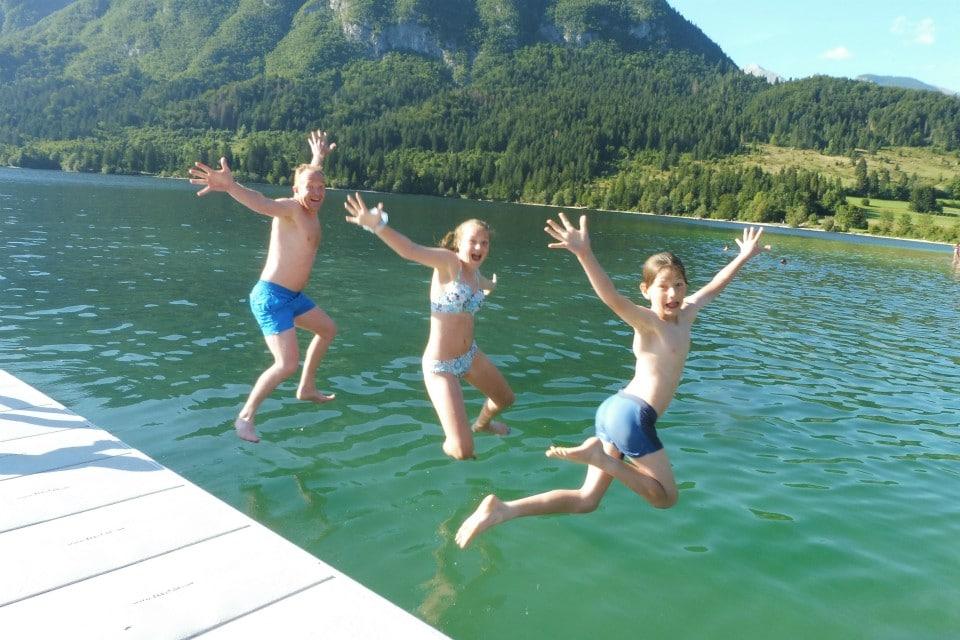 family swim lake bohinj