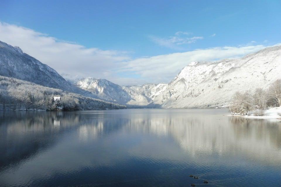 lake bohinj winter snow