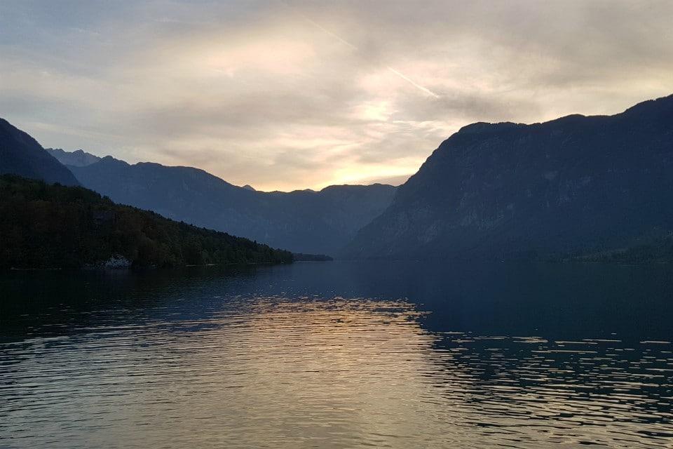 sunset lake bohinj slovenia