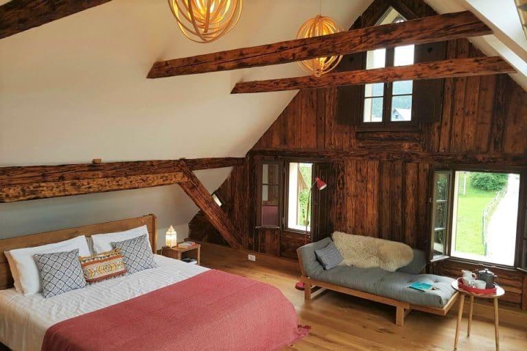 Beautiful master bedroom at Escape to Bohinj holiday home Sloveniatara Fuzina Slovenia