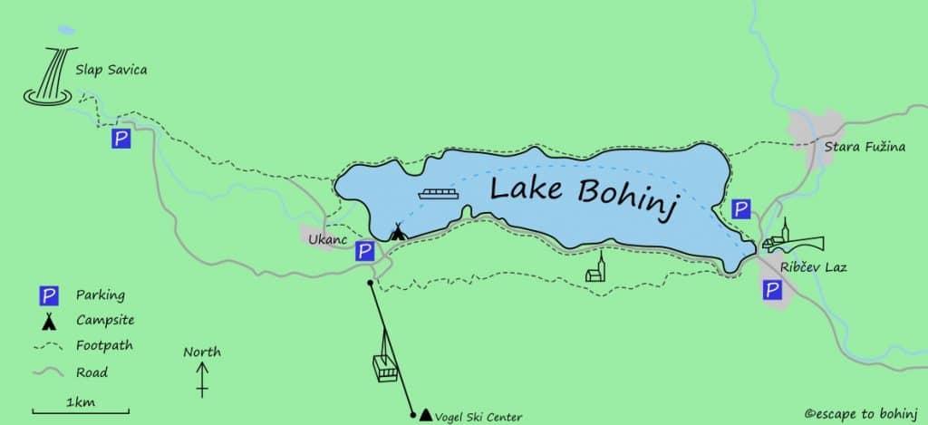 Map Lake Bohinj Boat