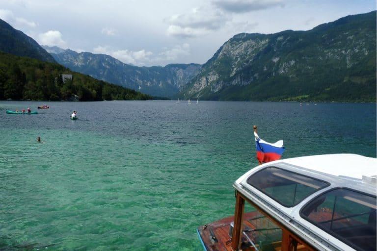 Take the Lake Bohinj Boat for stunning views of the Julian Alps in Slovenia