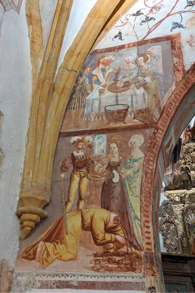 fresco church lake bohinj