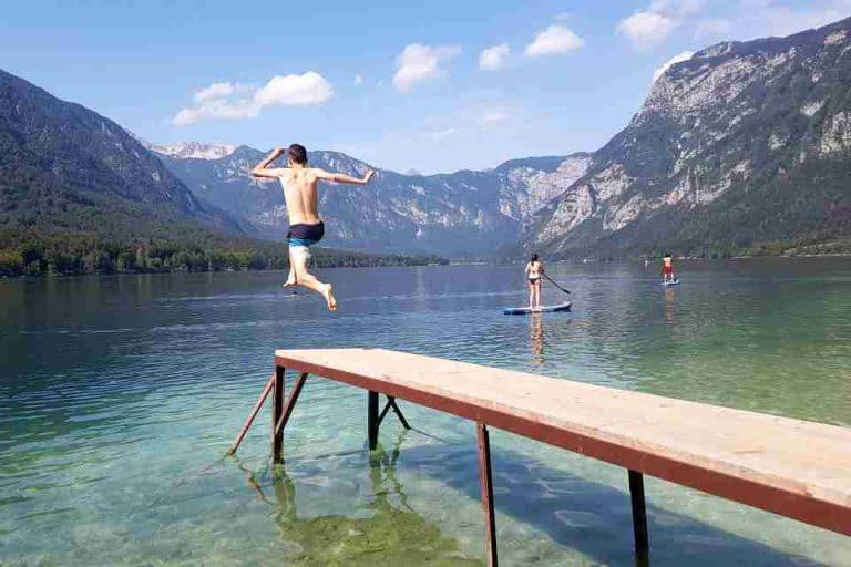 jumping lake bohinj