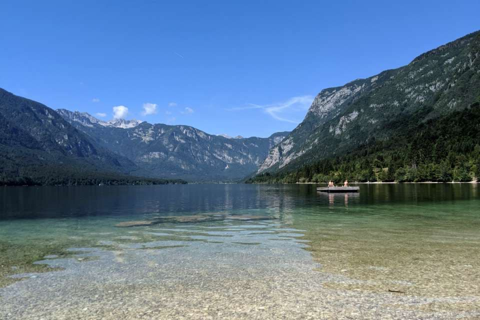 swimming activity lake bohinj