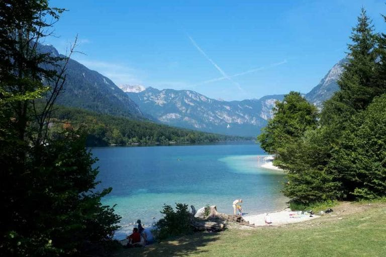Shallow swimming beach at Lake Bohinj perfect for families with young children