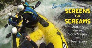 family rafting down the Soča river in Slovenia