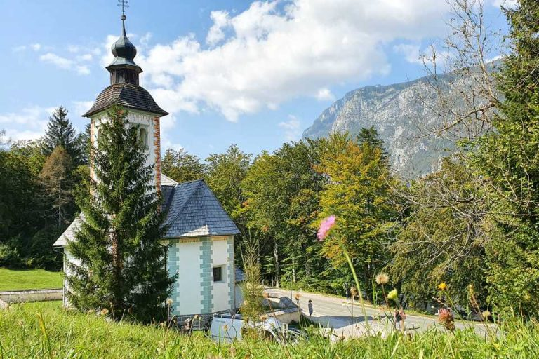 On your walk around lake Bohinj, stop at the church of the holy spirit