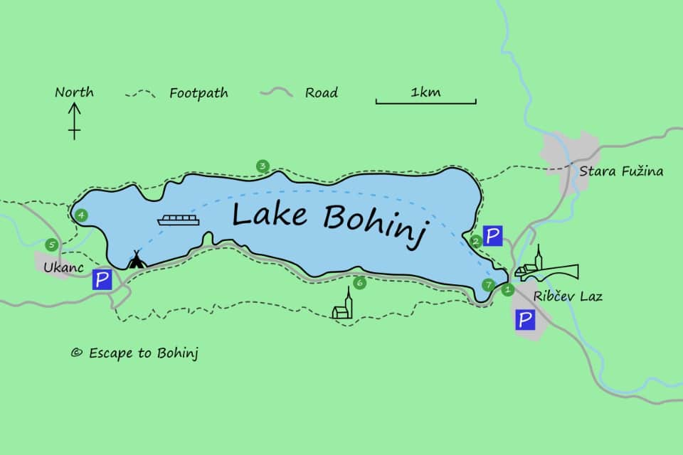 Map showing the walk around Lake Bohinj in Slovenia