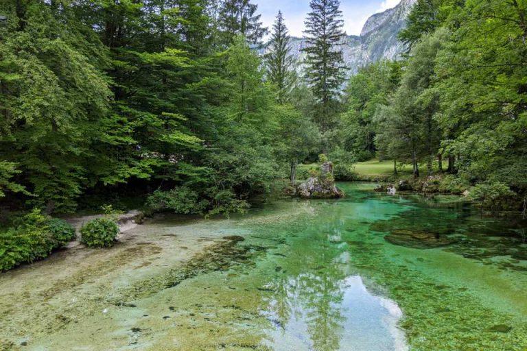Take a look at the Savica river as you walk around Lake Bohinj in Slovenia