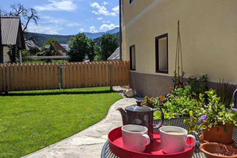 Garden at Escape to Bohinj holiday home in the Triglav National Park Slovenia