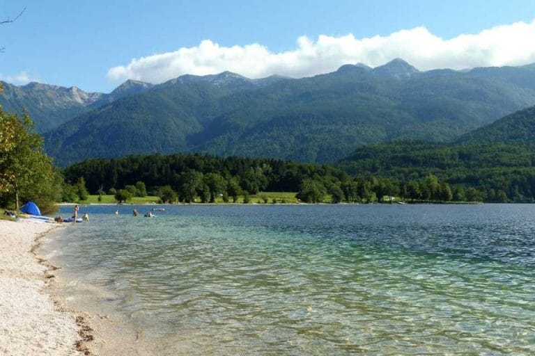 Turquoise water perfect for swimming at Lake Bohinj