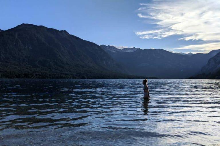 Sunset swim at Lake Bohinj Slovenia
