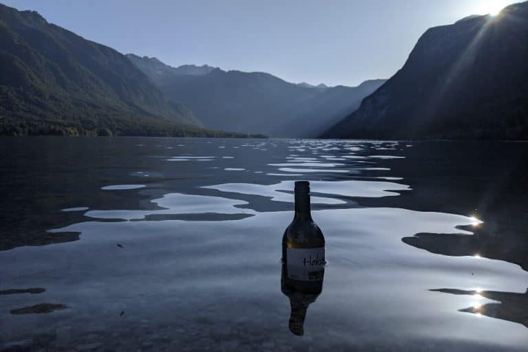 Cooling a bottle at Lake Bohinj for a relaxing evening by the lake