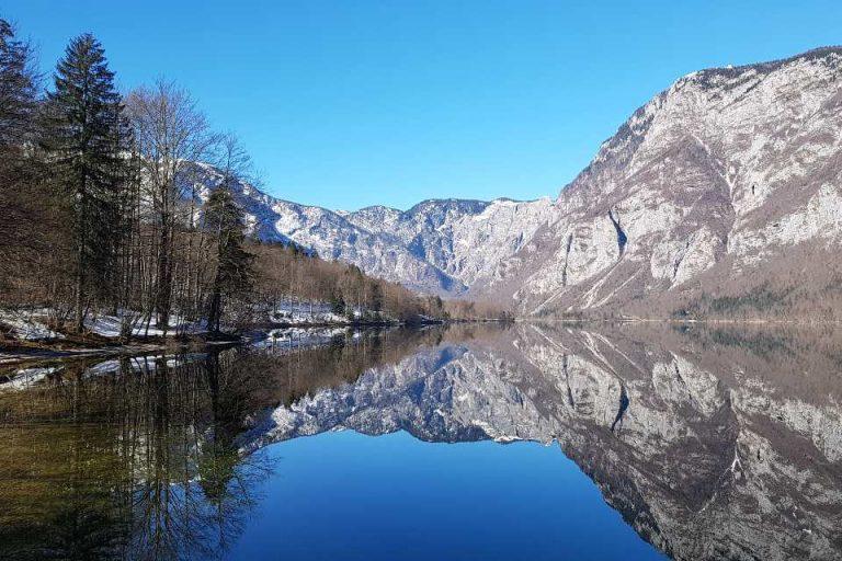 Winter walk around Lake Bohinj Slovenia