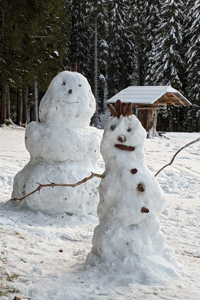 Build a snowman at Lake Bohinj Slovenia