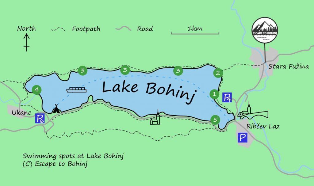 map lake bohinj swimming spots