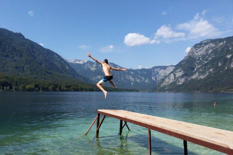 Swimming pier at Lake Bohinj Slovenia