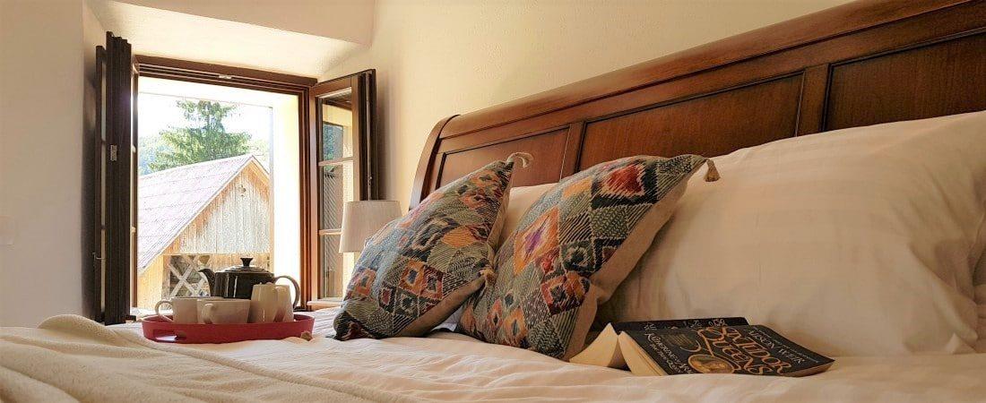 Super king size bed at Escape to Bohinj holiday house Sloveniat holiday accommodation at Lake Bohinj Slovenia