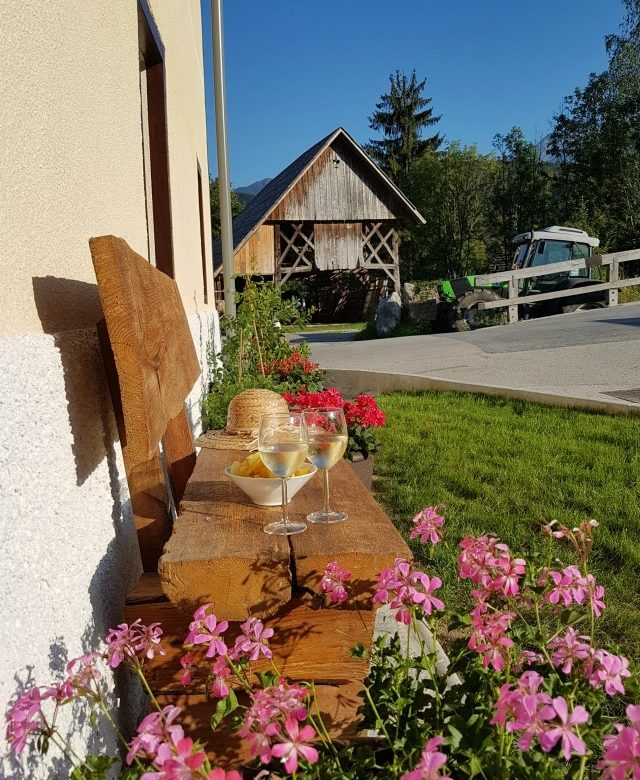 Garden at Escape to Bohinj self-catering holiday accommodation near Lake Bohinj Slovenia